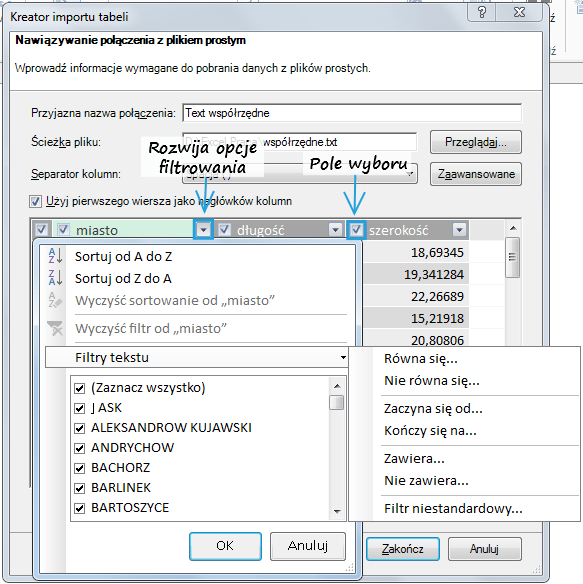 Import danych do PowerPivot_32
