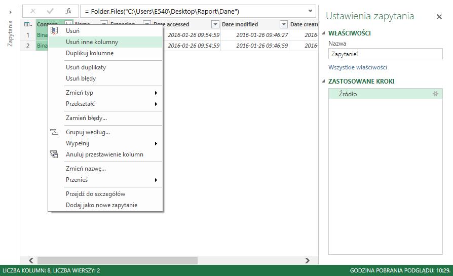 Power Query - łaczenie plikow z folderu 4