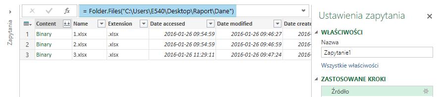 Power Query - skrypt importu z folderu