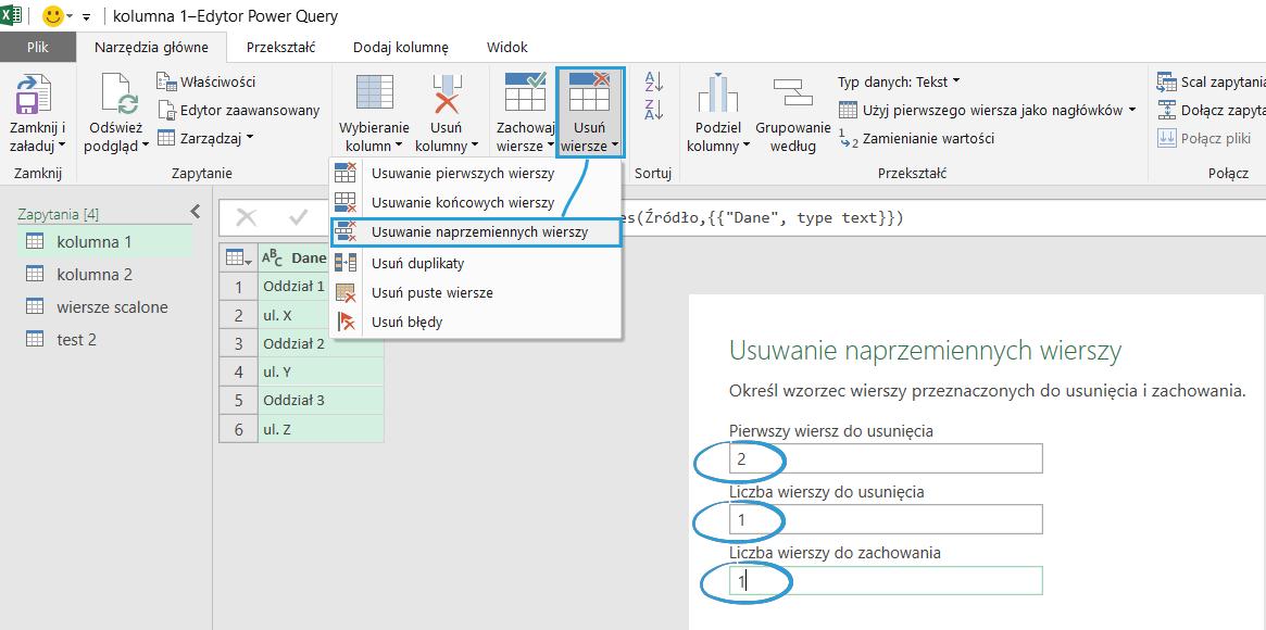 Usuwanie Naprzemiennych Wierszy W Power Query Excel Bi